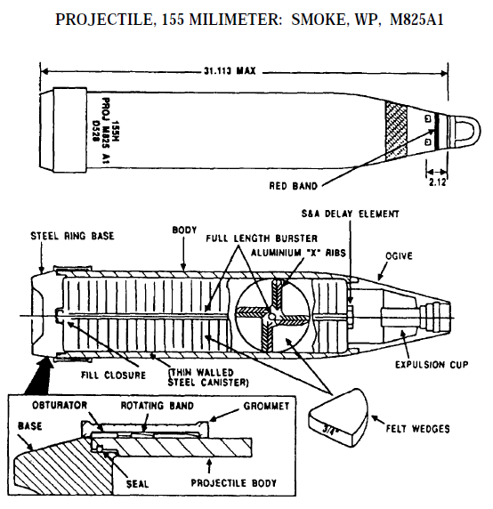 M825A1 155mm WP smoke projectile [US]