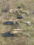 """Top: EF88 with 16"""" barrel shown with Ase Utra suppressor, Trijicon TA44SR-10 1.5x16 ACOG, and folding foregrip. Centre: EF88 with 20"""" barrel, fitted with Trijicon 4x32 BAC ACOG, Madritsch ML40AUS grenade launcher, and Thales Australia-designed quadrant sight with mounted Trijicon RMR. Bottom: F88SA2 (current Australian Defence Force service rifle) with RM Equipment M203PI grenade launcher, Knight's Armament Company quadrant sight, and standard 1.5x ring sight."""