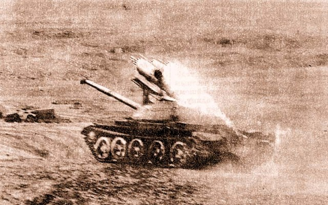 Soviet T-62 with S-5 launcher in Afghanistan (Herald of Mordovia)